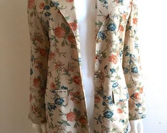 Vintage Blazer / Botanical print / M-L