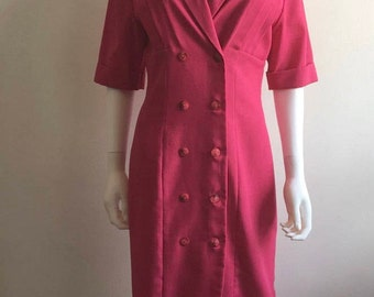 1980s Dress / Zandra Rhodes at Fifth Avenue / Hot Pink / Tailored / M