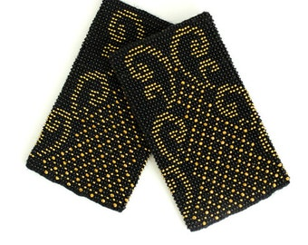 Black beaded wrist warmers / arm warmers decorated with gold Czhech beads and crystals with Swarovski elements
