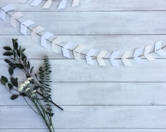 White & Cream Neutral Chevron Arrow Bunting Banner Garland 6 foot