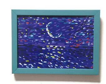Starry night Night sea Night landscape Night sky painting Moon artwork Midnight blue Blue night art  Night light Straightedgism style