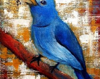 Blue Bird Singing Art / Original Contemporary Vibrant Semi Abstract Nightingale Bird Painting For Home Decor / Blue Bird Wall art Home Decor