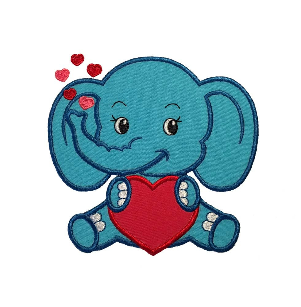 Cute Baby Elephant with Heart Embroidery Applique Design ...