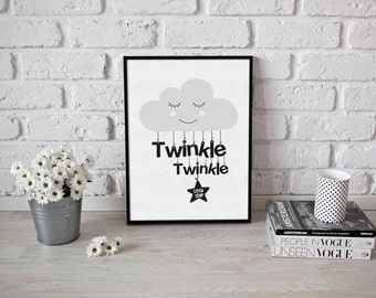 Twinkle Twinkle Little Star print - Nursery prints - boys room prints - girls room prints - nursery rhyme - cloud print - nursery wall art