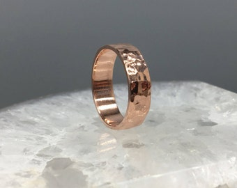 Bright Polished Hammered Copper Ring, 6 mm wide