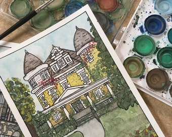 Custom Watercolor Architecture Painting