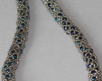 Blue Tubular Netting Necklace