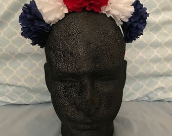 USA headband, American flag headband, red white and blue, patriotic hair, Independence, Fourth of July hair accessory, ready to ship