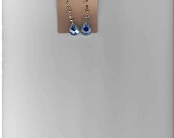 Earrings-Cobalt Blue and White Drops