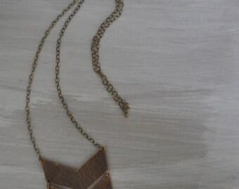 Leather chevron necklace / Pendant necklace / Statement necklace / Leather jewelry / Chevron jewelry / Modern necklace