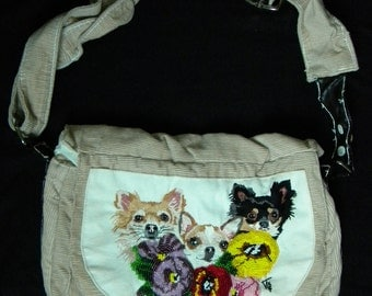 PURSE with embroidered chihuahua and thoughts