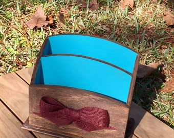 Hand Painted Desk Caddy with Wine Red Burlap Bow