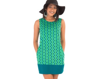 60s Style Summer Cotton Tunic Dress Green Print with Pockets