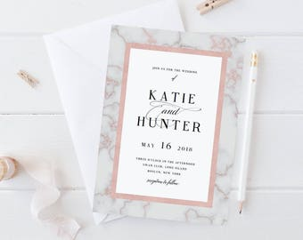 Marble Wedding Invitation Template Rose Gold Wedding Invitation DIY Wedding Invite Elegant Wedding Modern Wedding Marble Invitations PDF