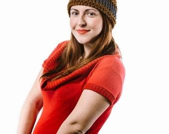 Brown knitted helmet