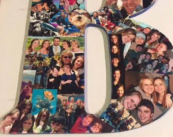 """Mod Podge/Decoupage 18"""" Photo Collage Letters & Numbers. Wedding Gift, Birthday Present, Dorm Room. Homey and perfect for all occasions"""