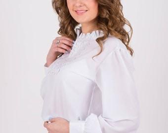 White blouse Chiffon blouse Blouse office Long sleeve blouse  elegant blouse Blouse for women blouse lace trim Festive blouse Business woman