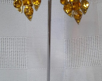 Coro Earrings, Amber Rhinestones, c.1940