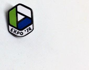 Expo '74 Enamel Pin Kelly Green Navy Blue Vintage Collectible