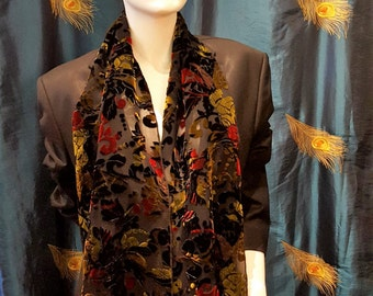 Long devore scarf, velour scarf, burn out scarf,floral scarf,black and burgundy scarf,vintage scarf