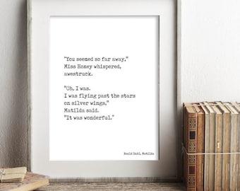 Instant Download, Matilda Quote Print, Roald Dahl Print, Printable Wall Art, Matilda Book Poster, Matilda Art, downloadable quote 8x10 16x20