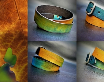 Mens leather bracelet, Brown leather bracelet for mens, Blue-green bracelet Green leather , Mens infinity bracelet,Leather Wrist Band