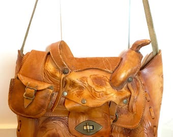 Vintage Mexico Leather Horse Saddle Bag