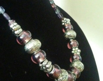 Beaded Necklace - Glass Beads - Purple and Silver