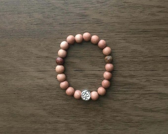 Rosewood and jasper mala bracelet