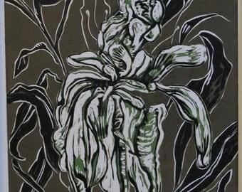 Unframed Reduction Linocut Peony #4 (mat not included)