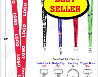 50 Pcs PERSONALIZED Lanyard Printed Lanyards Top Quality Polyester w/ 1 color LOGO/TEXT Custom Lanyards