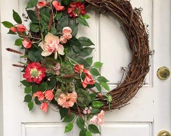 Red + Coral + Peach | Spring Wreath | Summer Wreath | Greenery Wreath | Grapevine Wreath | Front Door Wreath