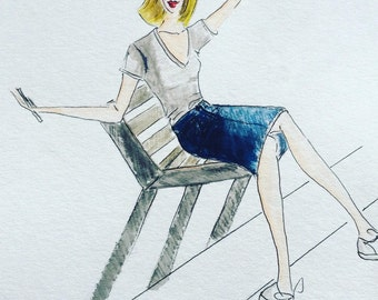 Fashion Drawing  Girl on a park Bench