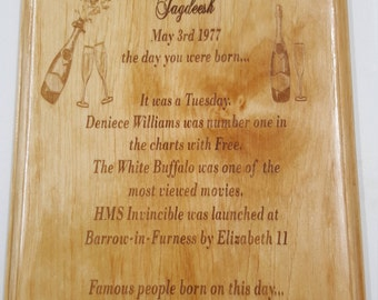Personalised birthday plaque, laser engraved on solid Alder wood. Made to. Order