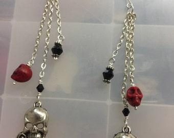 Skull and Rose Earrings Skull Rose Earrings