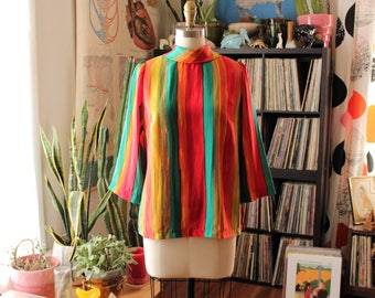 brushstroke rainbow mock neck top w/ 3/4 length sleeves . abstract art striped blouse . womens medium large