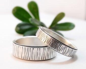 Winter Bark Sterling Silver Wedding Band Set Womens Wedding Ring Set, Mens Wedding Ring, Mens Wedding Band, Silver Ring, Womens Wedding Band