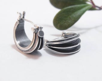 Sterling Silver Hoop Earrings Triple-Ribbed Hoops Modern Hoop Earrings Sterling Earrings Small Hoop