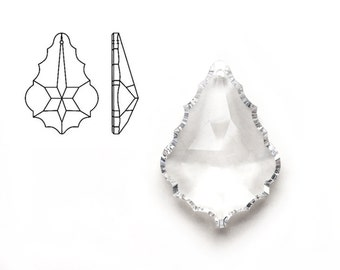 2pcs Swarovski Crystal 6091 / 8901 Baroque 38mm Pendeloque Pendant in Clear
