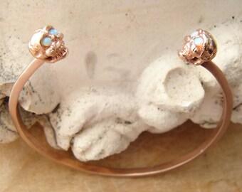 Lucky 13 double skull cuff bracelet rose gold bronze