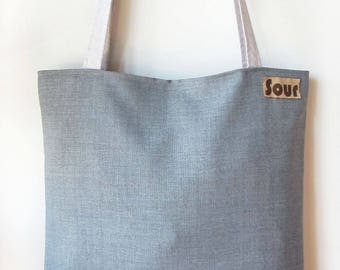 Into The Wind // Light Gray, Dark Gray, Faux Blue Suede and Floral Pattern Tote Bag
