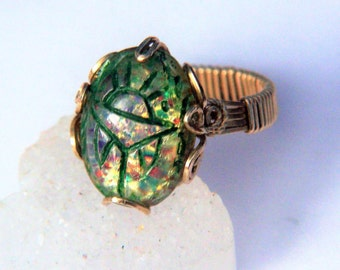 EGYPTIAN SCARAB Ring Rare Vintage Glass Fire Opal Custom Wire Wrap 14k Gold Filled Setting