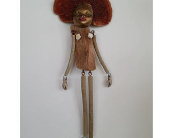 Wood Nymph #1, Wooden Art Doll, Forest Doll, Spirit Doll, Eco-friendly Doll