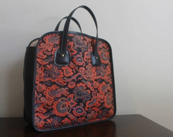 Carpet Bag / Tapestry Leather Tote Bag / Oversize Tapestry Handbag / Black Leather Top Handle Bag Satchel
