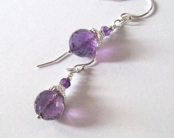 Amethyst Gemstone Drop Earrings Sterling Silver Filigree, February Birthstone
