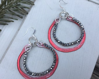 Cherry Red Boho Hoop Earrings | Bohemian Sterling Silver & Czech Glass Beads