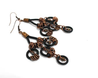 Boho earrings,ethnic earrings,dangle earrings,folk earrings,rubber earrings,copper earrings,crystals,boho style,vegan jewelry,gift for her