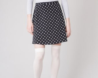 POLKA DOT SKIRT mini Le Chateau 90s classic Minimal spring summer women /28 waist / Better Stay Together