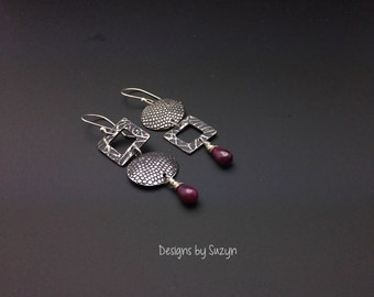 Red Hot Mama - Sterling Silver and Ruby Earrings