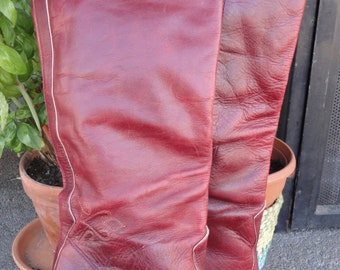 Oxblood Knee High 70s Gold Embroidered Leather Boots Heels 8 US BRAZIL
